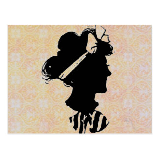 Mother's Day Vintage Woman Silhouette Postcard