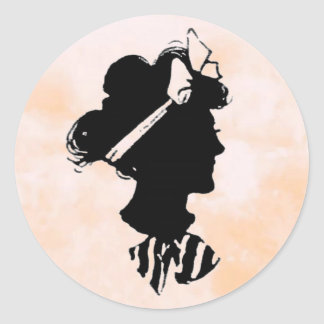 Mother's Day Vintage Woman Silhouette Round Sticker
