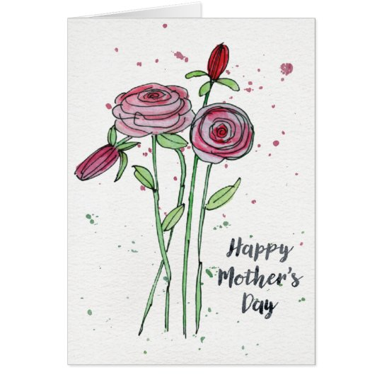 Mother's Day Watercolor Flowers Greeting Card