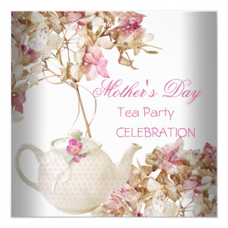 Mother's Day White Pink floral Tea Card