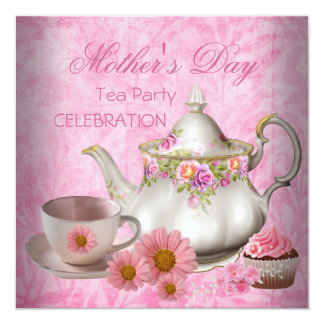 Mother's Day White Pink floral Tea Cupcake Card