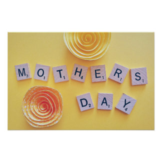 Mother's Day wood cube paper flower art Poster