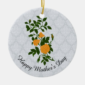 Mother's Day Yellow Rose Sprig Christmas Ornament