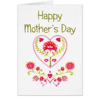 Mother's Flower Heart - Customize Greeting Card