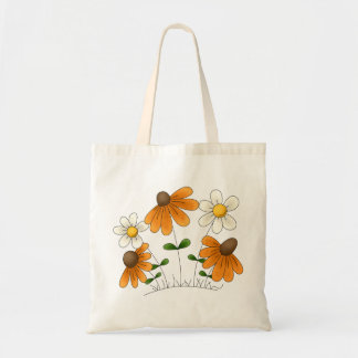 Mother's Flowers · Orange & White Daisies Budget Tote Bag