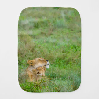 Mother's Love Lioness & Baby Burp Cloth