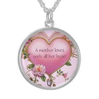Mothers Love Pink Heart Round Pendant Necklace