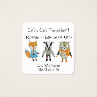 Mother's Play Date Get Together for Three Children Square Business Card
