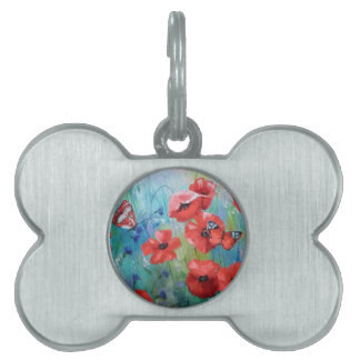 moths and butterflies pet ID tag