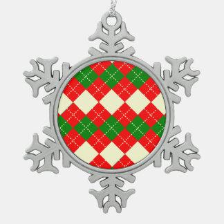 motif losange patterns pewter snowflake decoration