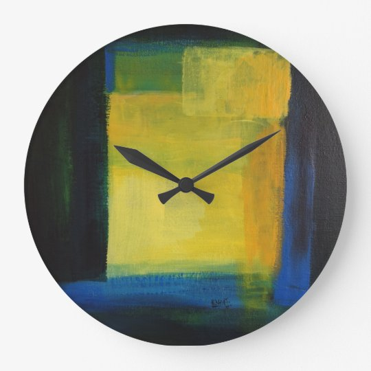 """""Motion"" Blue and Yellow Round (Large) Wall Clock"