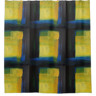 """""""Motion"""" Blue and Yellow Shower Curtain"""