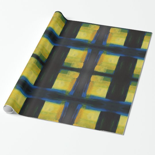 """""""Motion"""" Blue Yellow Wrapping Paper, 30 in x"""