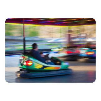Motion Blur Bumper Cars 13 Cm X 18 Cm Invitation Card