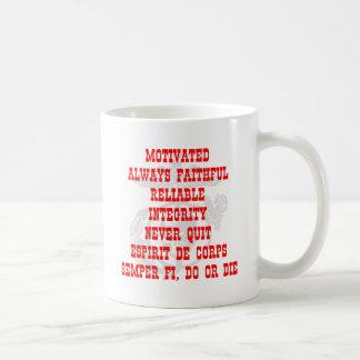 Motivated, Always Faithful, Reliable, Integrity, N Basic White Mug
