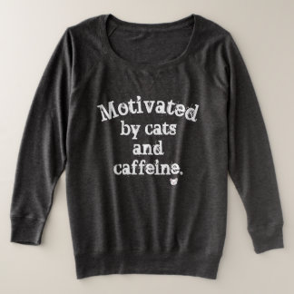 Motivated by Cats and Caffeine Plus Size Sweatshirt
