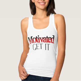 Motivated Fitness Inspire Words Red Black Tank Top