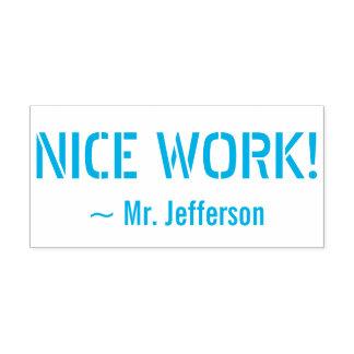 "Motivating ""NICE WORK!"" + Custom Educator Name Self-inking Stamp"