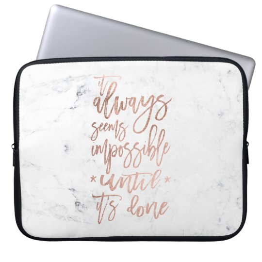 Motivation chic rose gold typography white marble laptop sleeve
