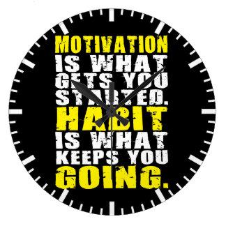 Motivation vs Habit - Motivational Words Wallclocks