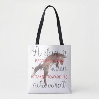 Motivational A Dream Becomes A Goal Fox Tote Bag
