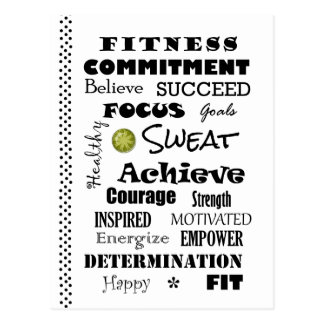 Motivational and Inspirational Fitness Typography Postcard