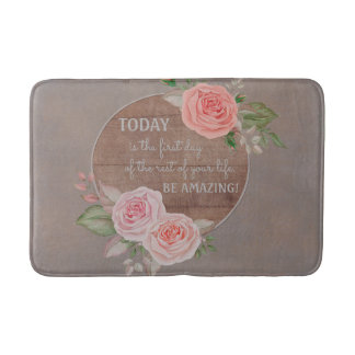 Motivational Be Amazing Pink Roses Rustic Wood Bath Mat