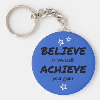 Motivational believe achieve blue basic round button key ring