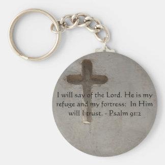 Motivational. Bible Verse Psalm 91:2 Basic Round Button Key Ring
