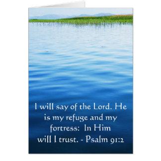 Motivational. Bible Verse Psalm 91:2 Card