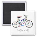 Motivational Bike, Bicycle, Cycling, Sport, Hobby Square Magnet