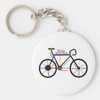 Motivational Bike, Cycle, Biking, Sport Words Basic Round Button Key Ring