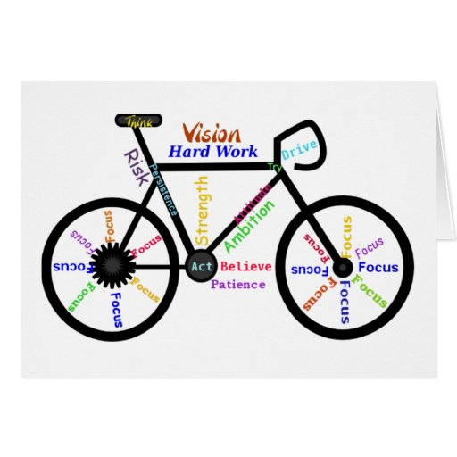 Motivational Bike, Cycle, Biking, Sport Words Greeting Cards