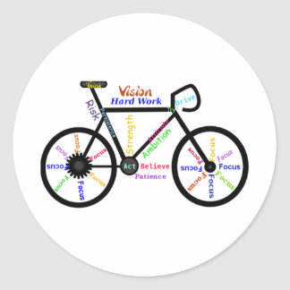 Motivational Bike, Cycle, Biking, Sport Words Classic Round Sticker