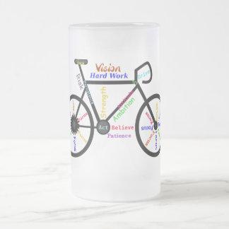 Motivational Bike, Cycle, Biking, Sport Words Frosted Glass Mug