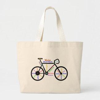 Motivational Bike, Cycle, Biking, Sport Words Large Tote Bag