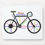 Motivational Bike, Cycle, Biking, Sport Words Mouse Pad