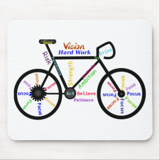 Motivational Bike, Cycle, Biking, Sport Words Mouse Pad
