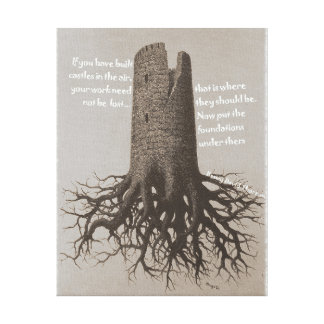 Motivational Castles in the Air quote Sepia Canvas