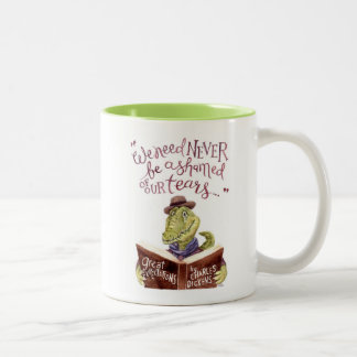 Motivational Charles Dickens Quote Watercolor Croc Two-Tone Coffee Mug