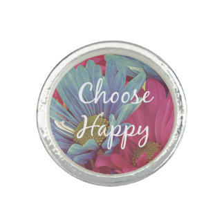 Motivational Choose Happy Affirmation Quote Ring