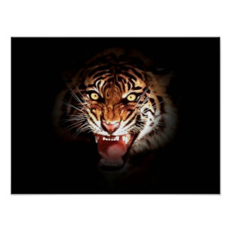Motivational Courage Roaring Tiger Poster