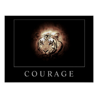Motivational Courage Tiger Poster Print