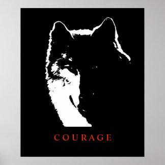 Motivational Courage Wolf Pop Art Poster Print