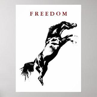 Motivational Freedom Rearing Horse Pop Art Poster