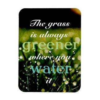 Motivational| Grass is greener where you water it Rectangular Photo Magnet