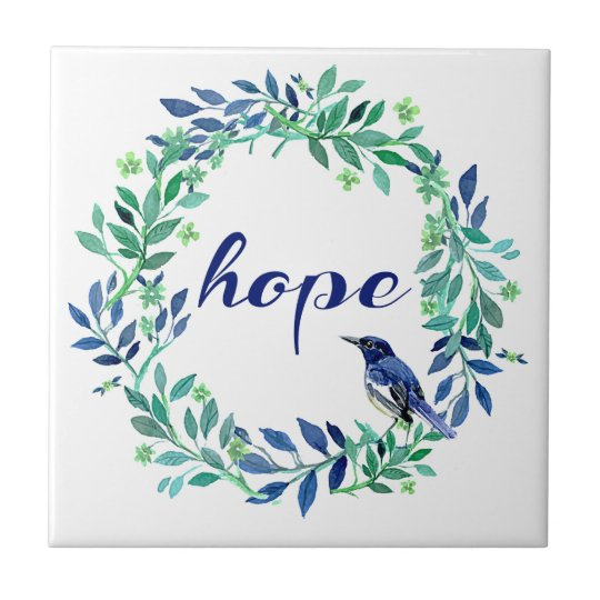 Motivational Hope Quote With Bird And Wreath Tile