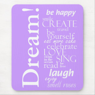 motivational inspirational words - dream, laugh mouse mat