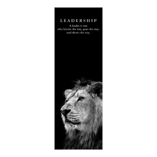 Motivational Leadership Quote Lion Black White Poster