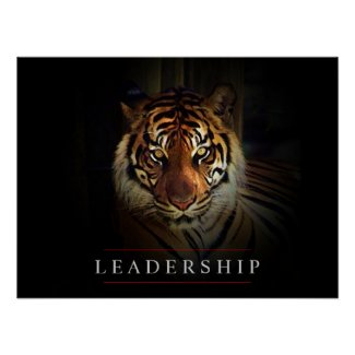 Motivational Leadership Tiger Eyes Poster Print
